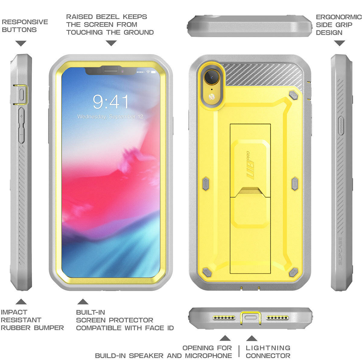 more photos 692fc b4eb8 New SUPCASE Unicorn Beetle UB Pro Case + Screen Protector For IPhone XR  Yellow
