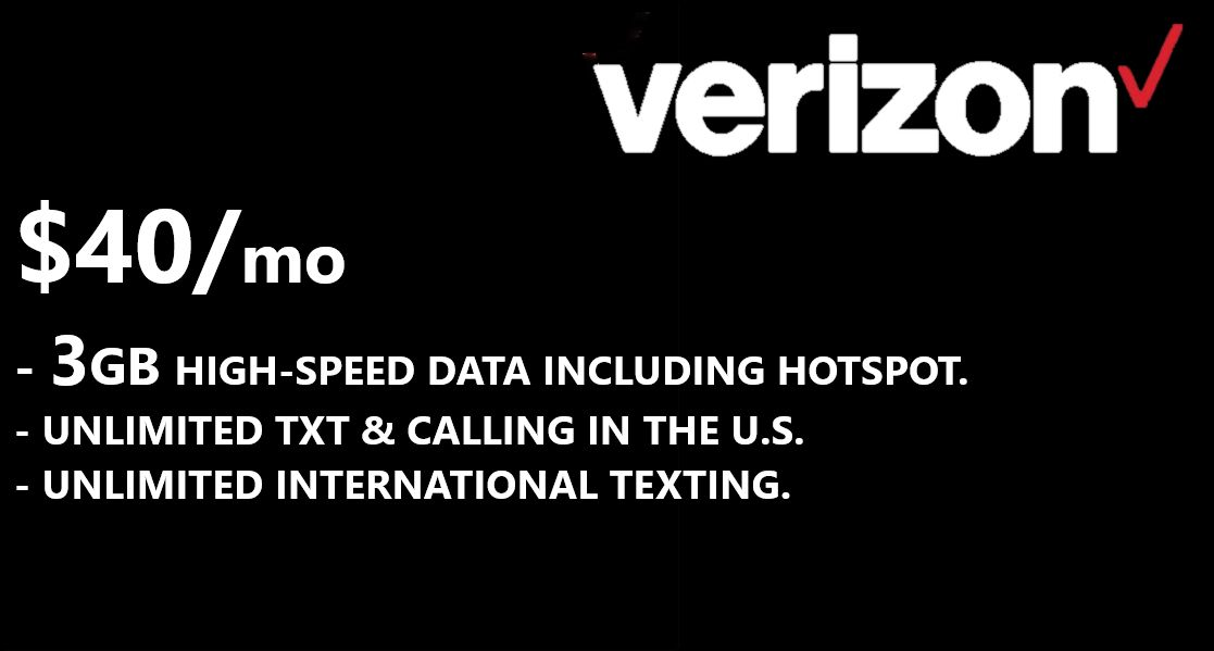 $40 Verizon Month to Month Prepaid Service Plan Activation Service