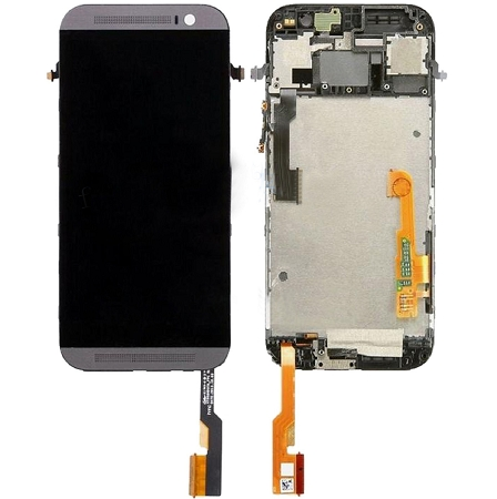 New Black & Grey HTC One M8 LCD + Digitizer Assembly Frame Replacement - Phone Repair Service Option  # 2