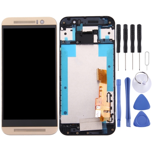 New LCD Screen and Digitizer Full Assembly with Frame for HTC One M9 (Gold)