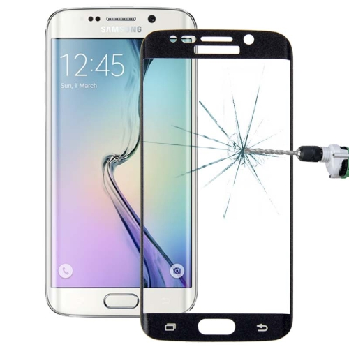 Tempered Glass Film 0.3mm 9H Surface Hardness 3D Curved Surface Full Screen Cover Explosion-proof for Galaxy S6 edge (Black)