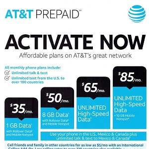 $85 At&t Month to Month Prepaid Service Plan Activation Service