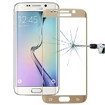 Tempered Glass Film 0.3mm 9H Surface Hardness 3D Curved Surface Full Screen Cover Explosion-proof for Galaxy S6 edge (Gold)